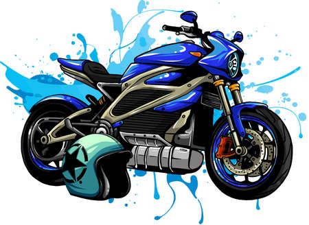 design vector illustration of Motorbike with helme