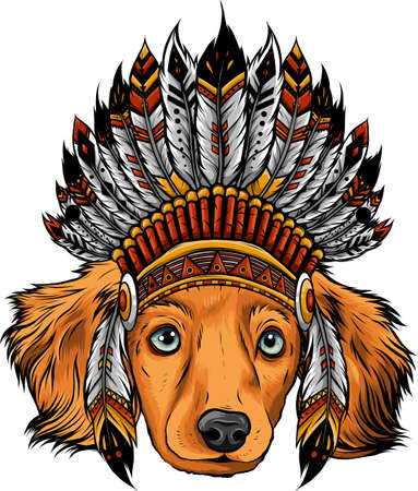 head dog with traditional Indian hat, vector illustration