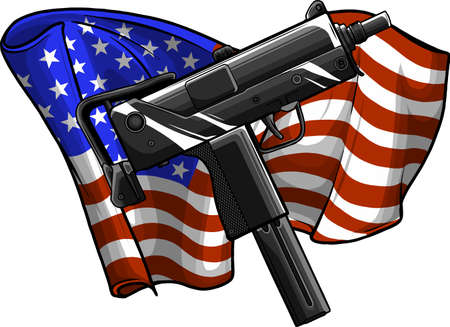 weapont Uzi with ameican flag vector illustration