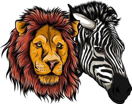zabra and lion head vector illustration design