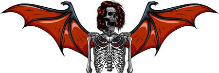 human skeleton with bat wings vector illustration 矢量图像