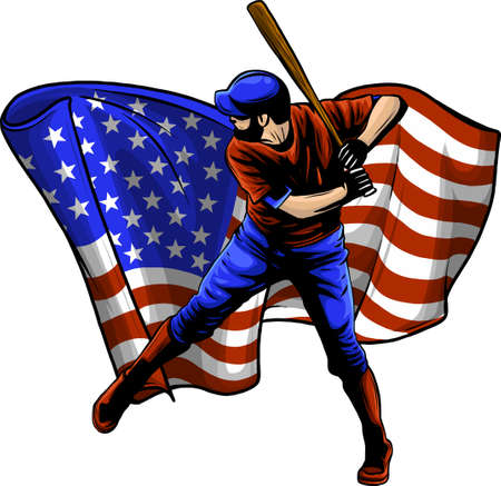 Baseball player with american flag vector illustration