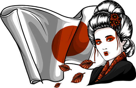 Beautiful Geisha with leaves and japan flag
