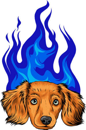 puppy Dog with Flame ornaments vector illustration
