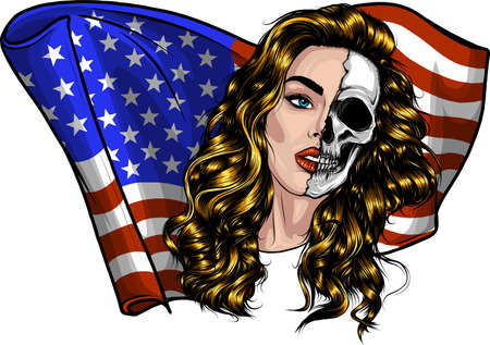 Beautiful Woman with American Flag vector illustration 矢量图像
