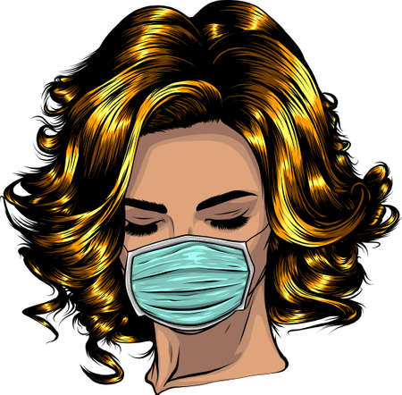 Woman wearing disposable medical surgical face mask. Vector illustration