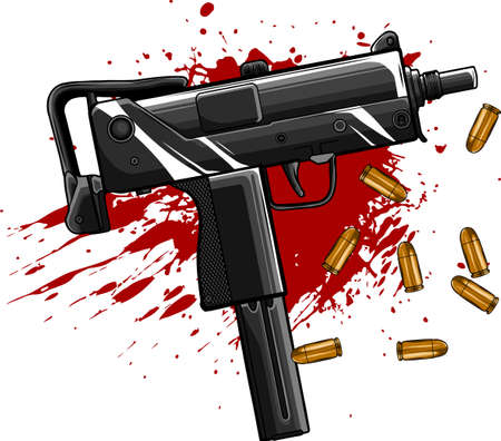 army uzi weapon with bullets ad blood