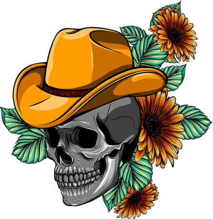 Vector illustration of skull with hat and flower