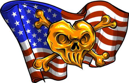 gold Skull and flag usa. Vector illustration.