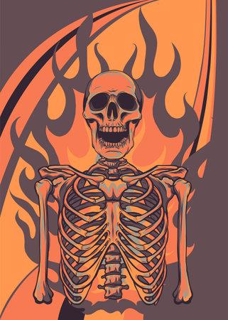 vector illustration of skeleton in flame design
