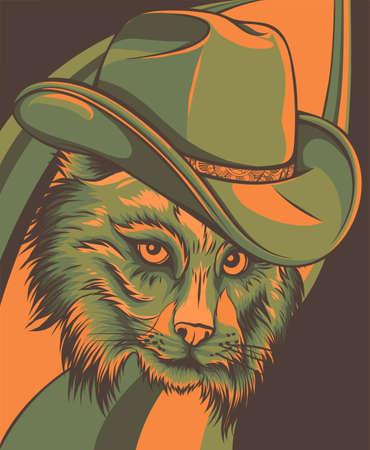 Wild cat, Lynx, Bobcat, Trot Hand Top hat, cylinder. Ilustración de vector