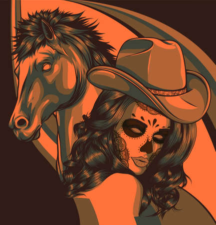 girl dressed as a cowboy with horse