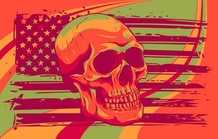 Skull and flag usa. Vector illustration design
