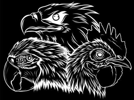 silhouette Eagle Mascot Design Vector Template illustration