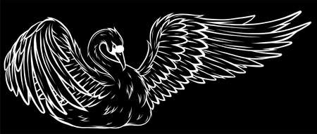 silhouette Swan. Hand drawn vector illustration of a swan