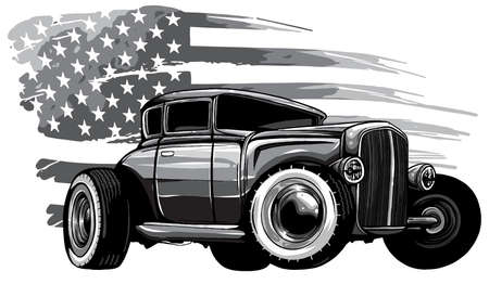 monochromatic vector graphic design of an American muscle car Vektorové ilustrace