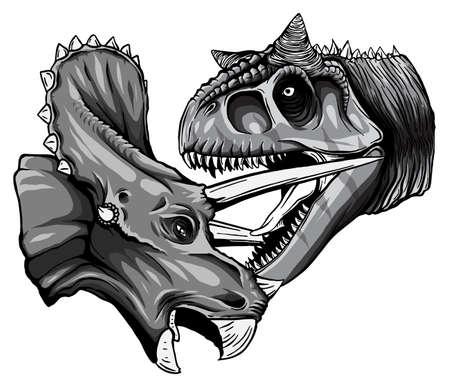monochromatic Vector tracing of dinosaur Tyrannosaurus is fighting Triceratops in watercolor style Ilustração Vetorial
