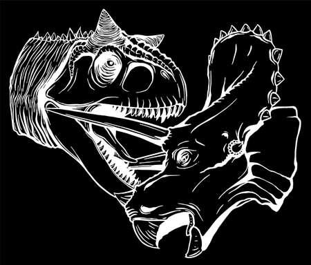 T Rex Versus Triceratops illustration silhouette in black background
