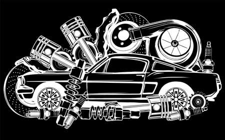 Vector illustration of Car Spares Frame and parts silhouette in black background Vector Illustratie