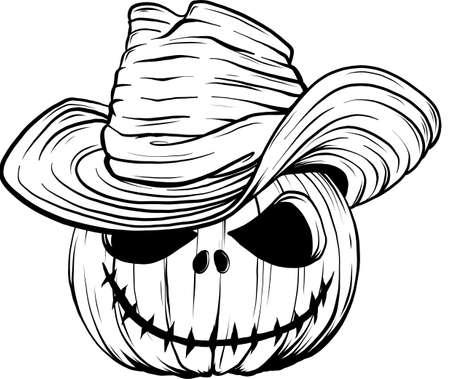 draw in black and white of Halloween pumpkin with bat wings vector illustration Ilustración de vector