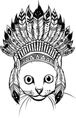 draw in black and white of head of Cat with indian hat vector Vektorové ilustrace