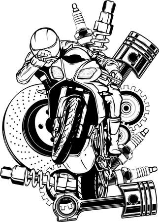 draw in black and white of Vector illustration of motorbike with Spares design
