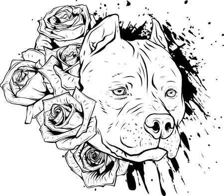 draw in black and white of head dog with roses vector illustration