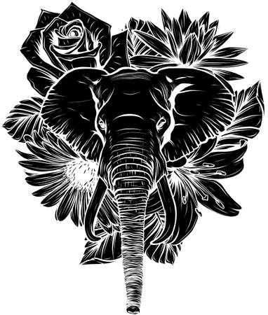 black silhouette of Vector illustration of head elephant with flower.