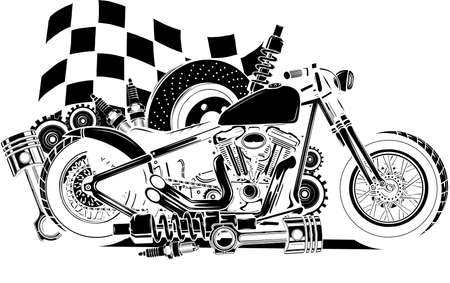 black silhouette of Vector Motorcycle with Spares and race flag Reklamní fotografie