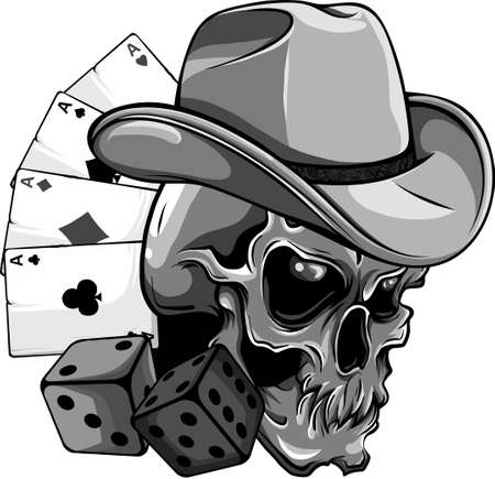 design of cowboy skull with poker ace and dice