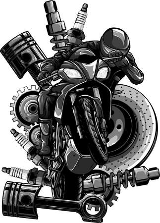 Vector illustration of motorbike with Spares design