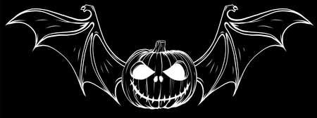 white silhouette of pumpkin with bat wings on black background Vektoros illusztráció