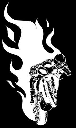 white silhouette of Motorcycle Racing with Fire on black background