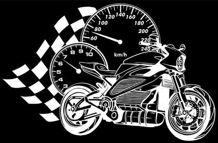 white silhouette of Motorcycle racer sport vector illustration