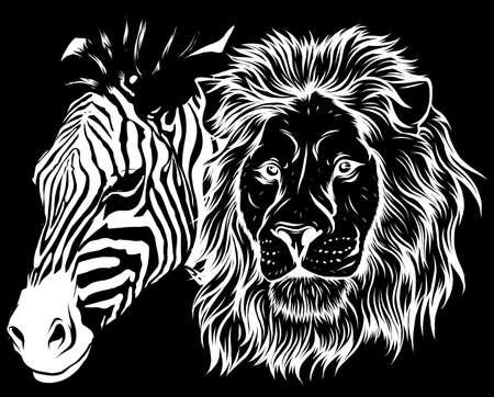zebra and lion head vector illustration design