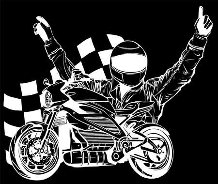 design of Motorbike rider with face flag vector illustration Vektoros illusztráció