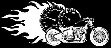 white silhouette of Motorcycle woth flames sport vector illustration