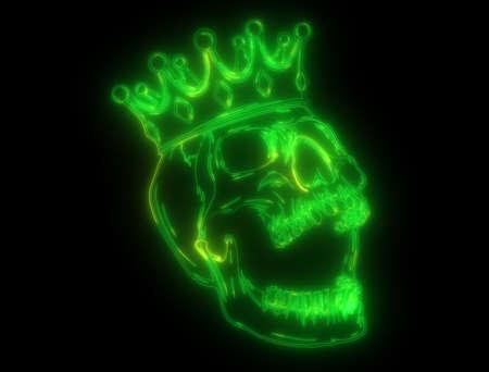 green light neon king skull wearing crown Banco de Imagens