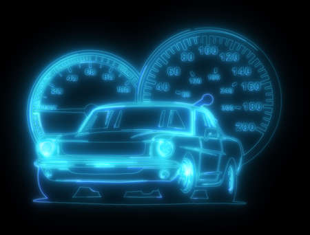Neon silhouette of classic American muscle car. Glowing sign. Banco de Imagens