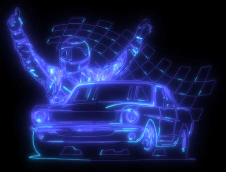 neon silhouette of a race driver in front of his car