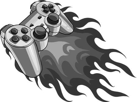 game pad with a fire for gaming vector Ilustração