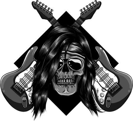 skull with crossing guitars vector illustration design Ilustração