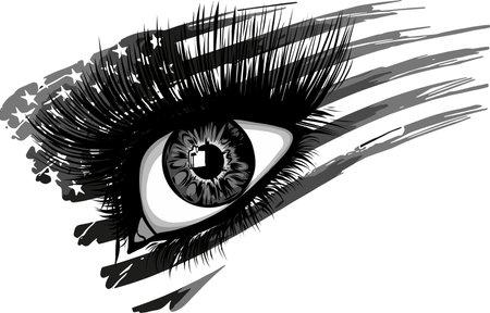 illustration of usa flag in beautiful female eye