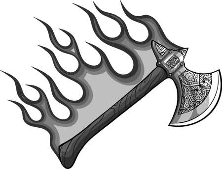 illustration of ax with flames in white background Ilustração