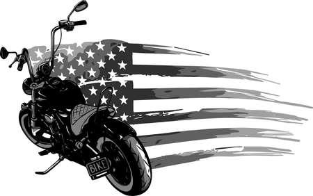 chopper motorcycle with american flag vector illustration Ilustração