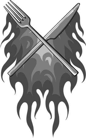 vector illustration Fork Knife Restaurant with flames