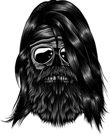 human skull with beard vector illustration design Ilustração