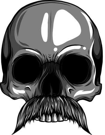 vector illustration of Human skull with moustache Ilustração