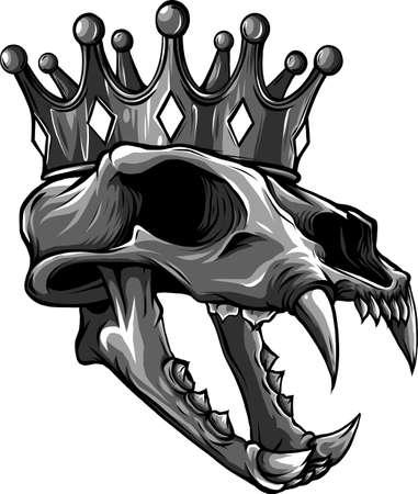 tiger skull with crown vector illustration design