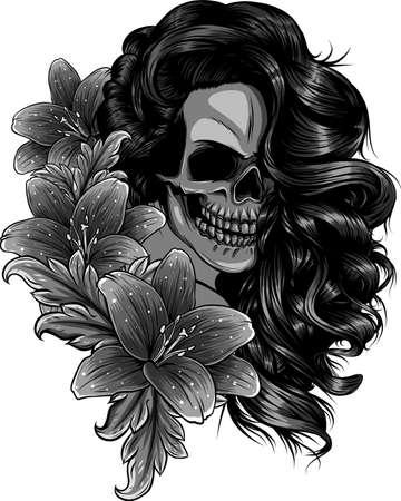 vector illustration of woman Skull with flower Lily Ilustração
